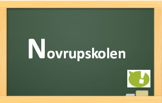 Tavle med teksten Novrupskolen